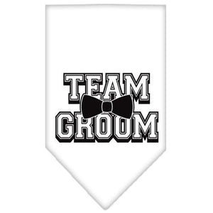 Team Groom Screen Print Bandana White Large-Team groom screen print bandana-Bella's PetStor