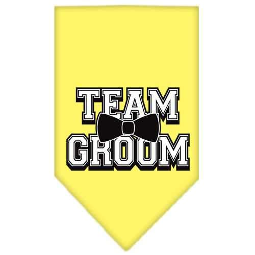Team Groom Screen Print Bandana Yellow Large-Team groom screen print bandana new pet products-Bella's PetStor