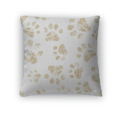Throw Pillow, Cat Or Dog Brown Paw Prints On White Pattern-Throw Pillow-Bella's PetStor