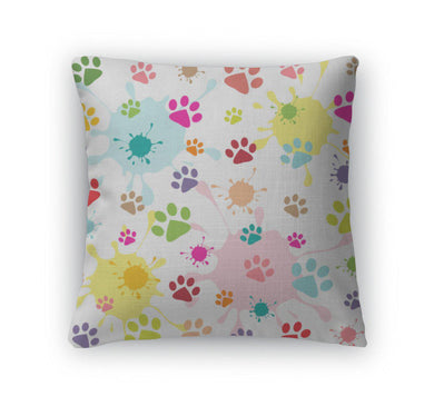 Throw Pillow, Colored Pattern With Paw Prints And Blots-Throw Pillow-Bella's PetStor