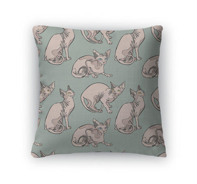 Throw Pillow, Cute Cats Hairless Naked Cats Sphynx Cats Pattern-Throw Pillow-Bella's PetStor