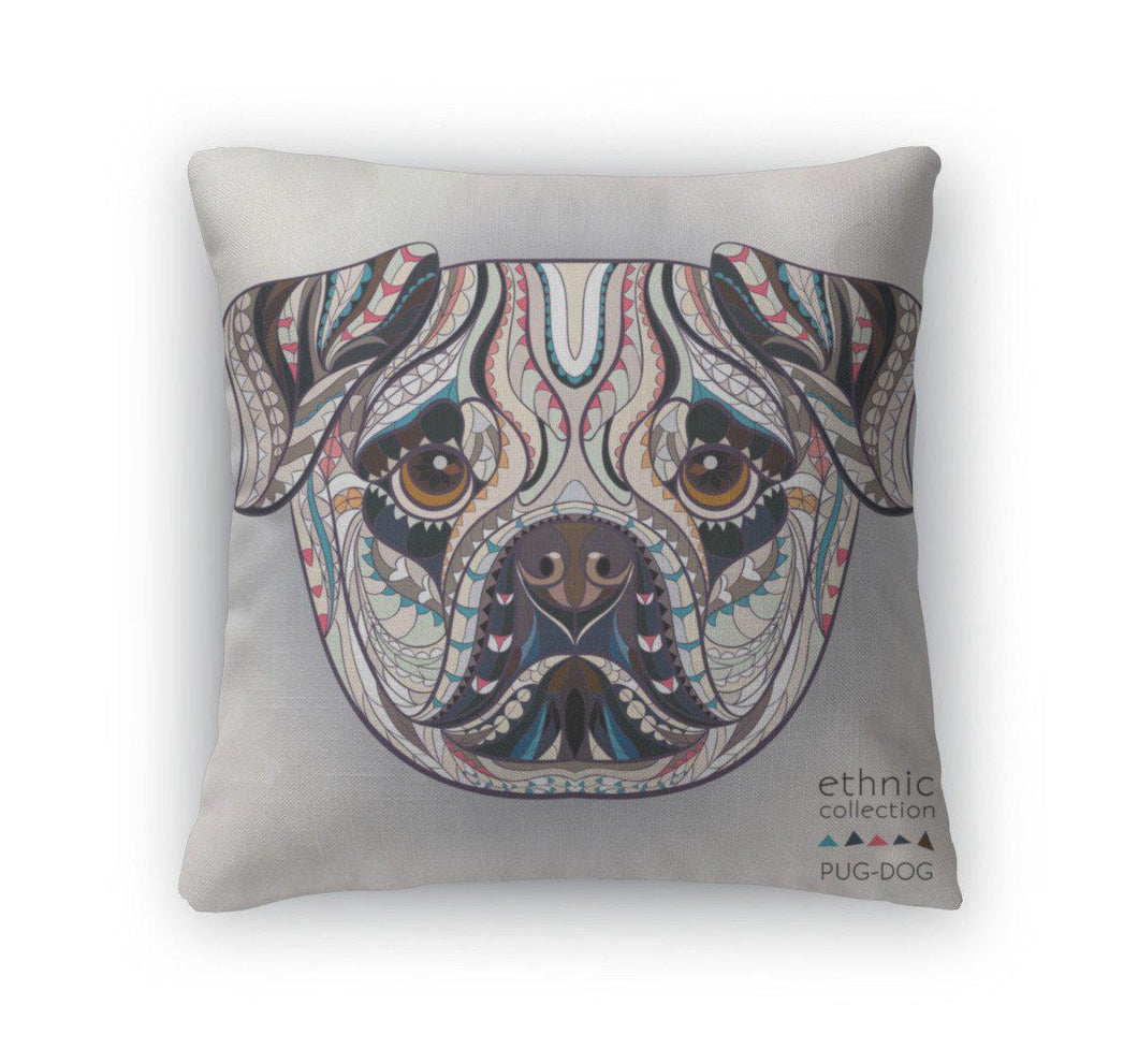 Throw Pillow, Ethnic Patterned Head Of Pugdog-Throw Pillow-Bella's PetStor