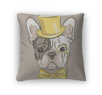 Throw Pillow, Funny Cartoon Hipster French Bulldog Dog-Throw Pillow-Bella's PetStor