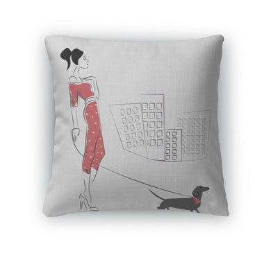 Throw Pillow, Girl Walking Her Dachshund-Throw Pillow-Bella's PetStor