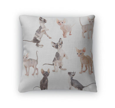 Throw Pillow, Hairless Canadian And Don Sphynx Kittens Set-Throw Pillow-Bella's PetStor