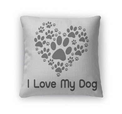 Throw Pillow, I Love Dog Symbol And Cute Dog-Throw Pillow-Bella's PetStor