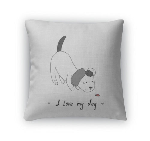 Throw Pillow, I Love My Dog Card Hand Drawn Cute Cartoon Dog Illustration-Throw Pillow-Bella's PetStor