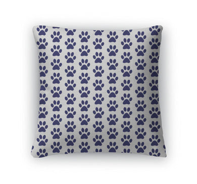 Throw Pillow, Navy Blue And White Dog Paw Prints Tile Pattern Repeat-Throw Pillow-Bella's PetStor