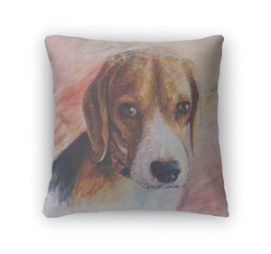 Throw Pillow, Painting Of Beagle Portrait On Canvas-Throw Pillow-Bella's PetStor