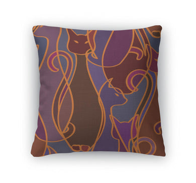 Throw Pillow, Pattern Of Cats-Throw Pillow-Bella's PetStor