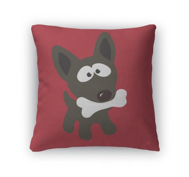 Throw Pillow, Small Dog With Bone-Throw Pillow-Bella's PetStor