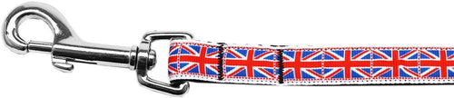 Tiled Union Jack(uk Flag) Nylon Ribbon Leash 5/8 Inch Wide Long-Dog Collars-Bella's PetStor