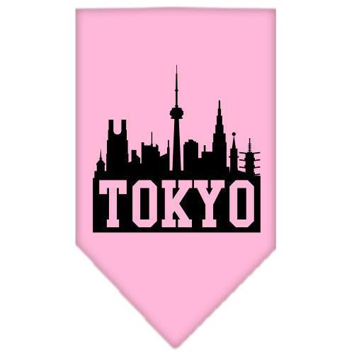 Tokyo Skyline Screen Print Bandana Light Pink Small-Tokyo skyline screen print bandana new pet products-Bella's PetStor
