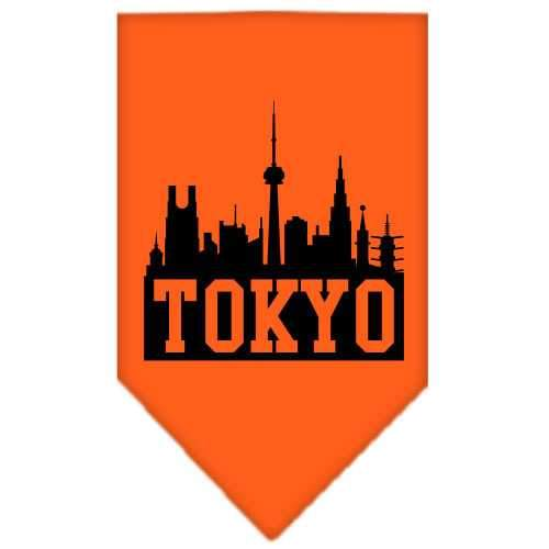 Tokyo Skyline Screen Print Bandana Orange Small-Tokyo skyline screen print bandana new pet products-Bella's PetStor
