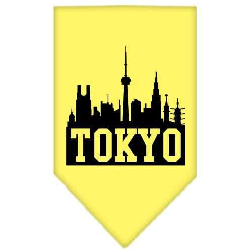 Tokyo Skyline Screen Print Bandana Yellow Small-Tokyo skyline screen print bandana new pet products-Bella's PetStor