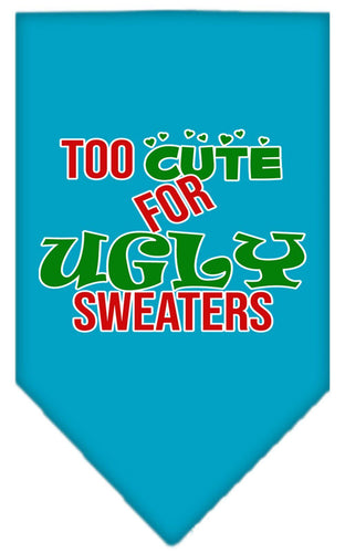 Too Cute For Ugly Sweaters Screen Print Bandana-Christmas, Hannakuh-Bella's PetStor