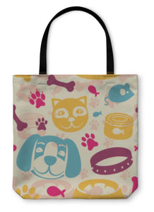 Tote Bag, Bright Pattern With Funny Cat And Dog-Tote Bag-Bella's PetStor