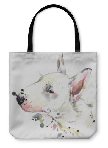 Tote Bag, Bull Terrier Dog Tshirt Graphics Dog Illustration With Splash Watercolor D-Tote Bag-Bella's PetStor