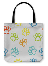 Load image into Gallery viewer, Tote Bag, Colored Pattern With Paw Prints Dog Cat-Tote Bag-Bella's PetStor