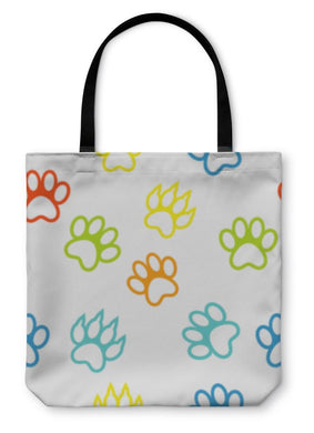 Tote Bag, Colored Pattern With Paw Prints Dog Cat-Tote Bag-Bella's PetStor