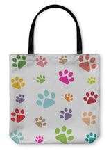 Load image into Gallery viewer, Tote Bag, Colored Pattern With Paw Prints-Tote Bag-Bella's PetStor