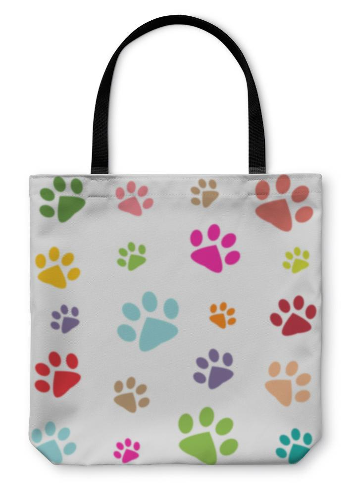 Tote Bag, Colored Pattern With Paw Prints-Tote Bag-Bella's PetStor