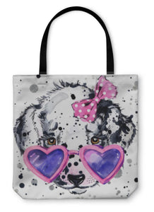 Tote Bag, Dalmatian Graphics Dog Illustration With Splash-Tote Bag-Bella's PetStor