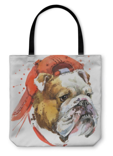 Tote Bag, Dog Bulldog Tshirt Graphics Dog Bulldog Illustration With Splash Watercolor D-Tote Bag-Bella's PetStor