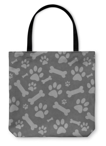 Tote Bag, Gray Dog Paw Prints And Bones Tile Pattern Repeat-Tote Bag-Bella's PetStor