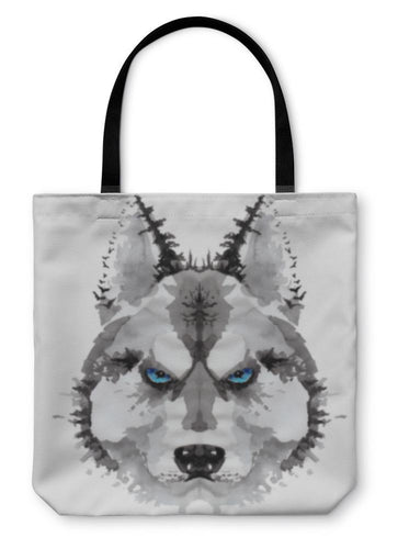 Tote Bag, Husky Dog Painted Watercolor Illustration-Tote Bag-Bella's PetStor