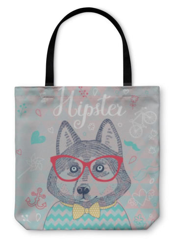 Tote Bag, Husky Hipster Dog In Glasses-Tote Bag-Bella's PetStor