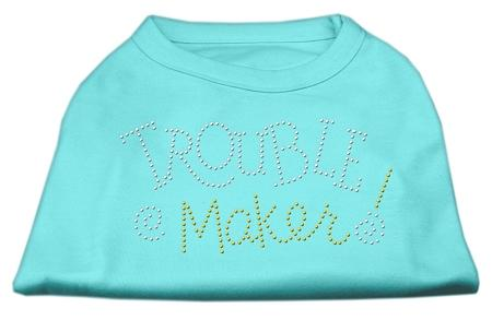 Trouble Maker Rhinestone Shirts Aqua-Dog Clothing-Bella's PetStor
