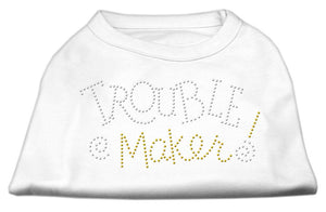 Trouble Maker Rhinestone Shirts White-Dog Clothing-Bella's PetStor