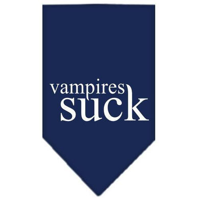 Vampires Suck Screen Print Bandana Navy Blue large-Vampires suck screen print bandana halloween-Bella's PetStor