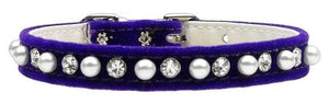 "Velvet 3/8"" Pearl And Clear Crystals Collar-DOGS-Bella's PetStor"