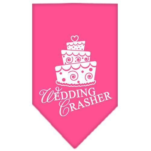 Wedding Crasher Screen Print Bandana Bright Pink Large-Wedding crasher screen print bandana new pet products-Bella's PetStor