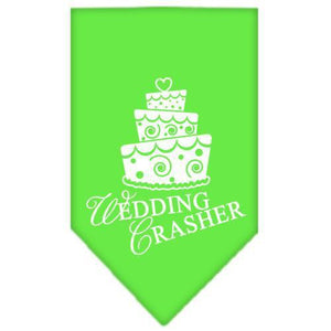 Wedding Crasher Screen Print Bandana Lime Green Small-Wedding crasher screen print bandana new pet products-Bella's PetStor