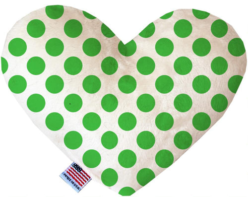 White And Green Dotted Inch Canvas Heart Dog Toy-Made in the USA-Bella's PetStor
