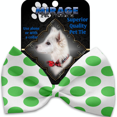 White And Green Dotted Pet Bow Tie Collar Accessory With Velcro-Bow Ties-Bella's PetStor