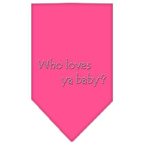 Who Loves Ya Baby Rhinestone Bandana-Dog Clothing-Bella's PetStor