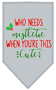 Who Needs Mistletoe Screen Print Bandana-Christmas, Hannakuh-Bella's PetStor