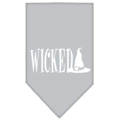 Wicked Screen Print Bandana Grey Large-Wicked screen print bandana halloween-Bella's PetStor
