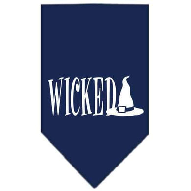 Wicked Screen Print Bandana Navy Blue large-Wicked screen print bandana halloween-Bella's PetStor
