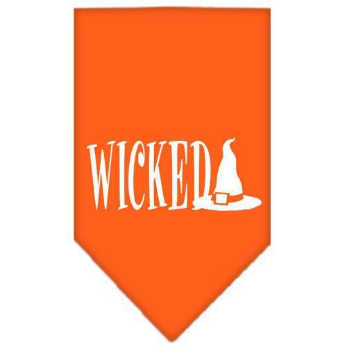 Wicked Screen Print Bandana Orange Large-Wicked screen print bandana halloween-Bella's PetStor