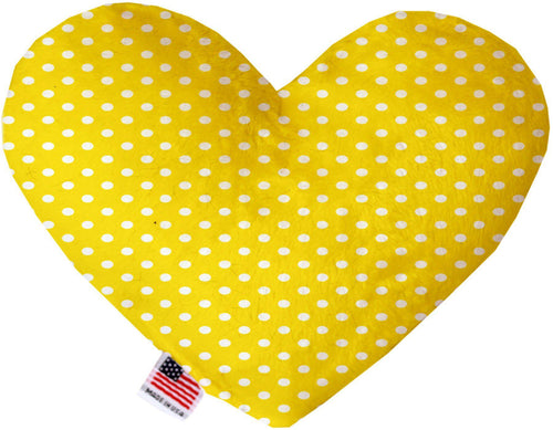Yellow Polka Dots Inch Canvas Heart Dog Toy-Made in the USA-Bella's PetStor