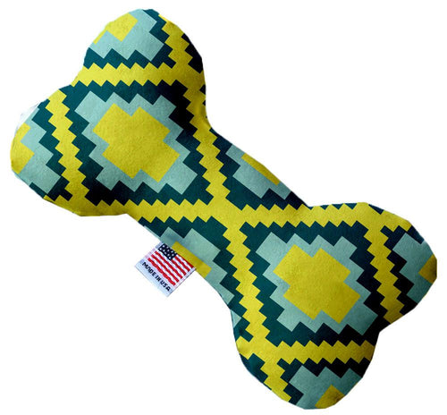 Yellow Southwest Inch Canvas Bone Dog Toy-Made in the USA-Bella's PetStor