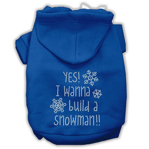 Yes! I Want To Build A Snowman Rhinestone Dog Hoodie-Dog Clothing-Bella's PetStor