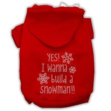 Load image into Gallery viewer, Yes! I Want To Build A Snowman Rhinestone Dog Hoodie-Dog Clothing-Bella's PetStor
