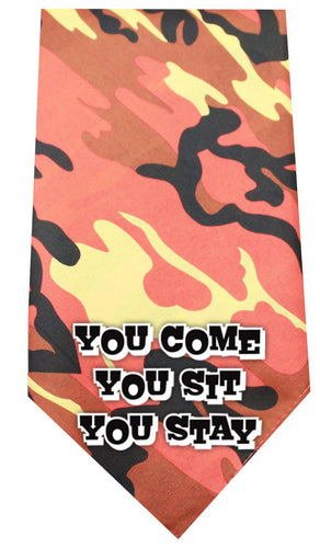 You Come Sit Stay Screen Print Bandana Camo-Dog Clothing-Bella's PetStor
