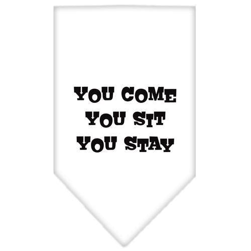 You Come, You Sit, You Stay Screen Print Bandana-Dog Clothing-Bella's PetStor